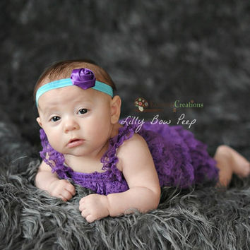 SET- Baby Girl Clothes - Lace Petti Romper & Flower Headband- baby headband-Flower Girl Dress-Preemie-Newborn-Infant-child-Baptism-baby Girl
