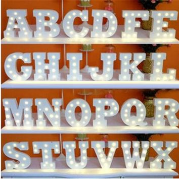 A-Z+& Alphabet LED Light Up White Wooden Letters Standing Hanging Letter Lights