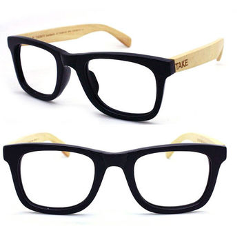 TAKE BY TAKEMOTO MJX1302 wayfarer handmade wood & acetate glasses with prescription  lenses