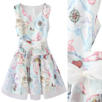 White Cloud Print Sleeveless A-line Skater Dress