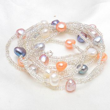 120cm Long Baroque Freshwater Pearl Necklace 925 sterling silver clasp White crystal beads