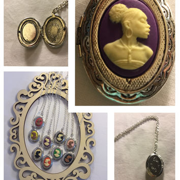 Purple Cameo Vintage Locket/Free Shipping