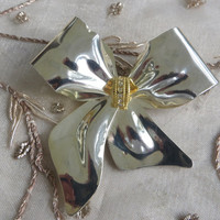 VINTAGE Bow Brooch with Rhinestones Bold & Dramatic