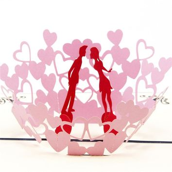 3D Pop UP Valentine Cards Birthday butterfly Card Anniversary Gifts Postcard Cherry Tree Wedding Invitations Greeting Cards 304Z