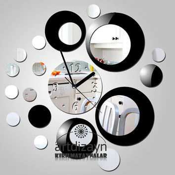 modern black and Shatterproof mirror  wall clock better gift diy