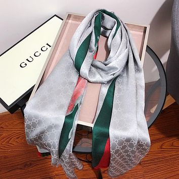 GUCCI Popular Women Men Stripe Silk Kerchief Cape Scarf Scarves Grey