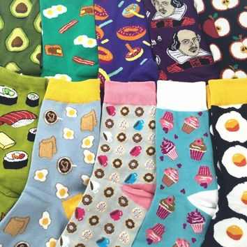 Adult Size Crew Socks KAWAII FOOD Omelette Fruit Sushi Sake Onigiri Salmon Avocado Cupcake Shrimp Octopus Lolly Toast IceCream
