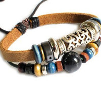Jewelry bangle leather bracelet women bracelet men bracelet boys bracelet made of leather wood beads metal cuff bracelet  SH-2209
