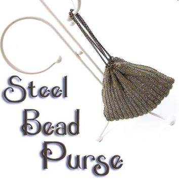 Antique Steel Beaded Purse Handmade Scallop Shell Knit Pouch Wrist Bag