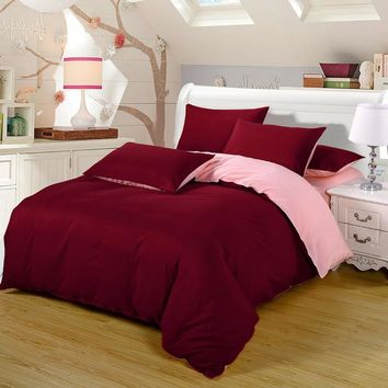 2016 Bedding-set 4Pcs King Size Solid Bedding Sets Bed Sheets Duvet Cover Bedclothes Linen Colcha De Cama Bedspread No Comforter