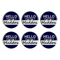 Maddox Hello My Name Is Plastic Resin Button Set of 6