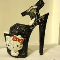 3D Crystallized Hello Kitty Heels (Black/Red)