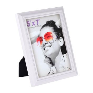 5x7 inch Picture Frame Made of Solid Wood High Definition Glass for Table Top Display and Wall mounting photo frame White