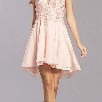 Embroidered V-Neck Homecoming Short Dress Blush