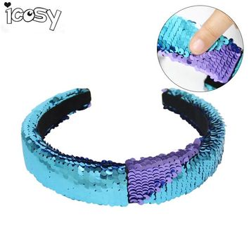 Kids Children Color Changing Glitter Sequins Mermaid Hairbands Fashion Hair Accessories for Girls Birthday Party Gift Favors