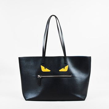 "Fendi Black Yellow & Blue Leather Top Handle Medium ""Roll Monster"" Tote Bag"