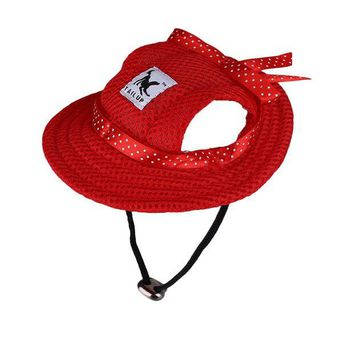 ONETOW Dog Cat Cap Breathable Princess Mesh Sun Hat Beach Hat Sun Protection Hat