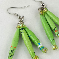 Green Paper Bead Dangle Earrings by theotherstacey on Etsy
