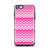 The Pink & White Ombre Chevron V2 Pattern Apple iPhone 6 Plus Otterbox Symmetry Case Skin Set