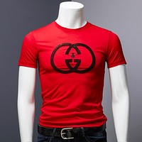 GUCCI New fashion letter bee  top t-shirt men Red