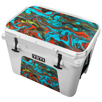 Teal and Orange Paint on Water Ripples Skin for the Yeti Tundra Cooler