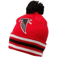 Mitchell & Ness Atlanta Falcons Red-Black Throwback Jersey Striped Cuffed Knit Beanie