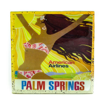 Handmade Coaster Vintage Travel - Palm Springs American Airlines Handmade Recycled Tile Coaster