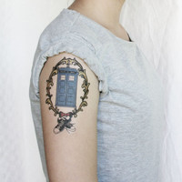 Doctor Who Tardis with sneakers and bow tie temporary tattoo - Stocking Stuffer