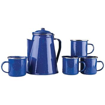 Stansport(TM) 11230 Enamel 8-Cup Coffee Pot with Percolator & Four 12oz Mugs