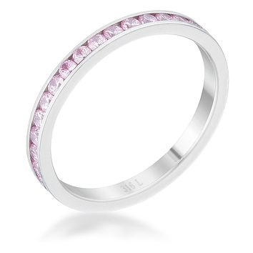 Teresa Pink Silver Eternity Stackable Ring | 1ct | Cubic Zirconia | Stainless Steel