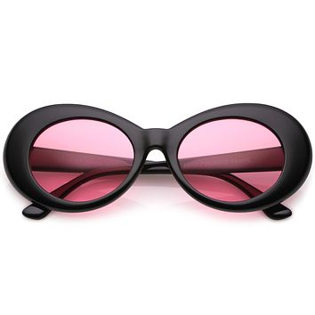 Retro 90's Fashion Clout Oval Round Color Tone Lens Sunglasses C441