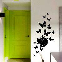 Wall Decal Vinyl Sticker Clock with Bird Flying Away Art Design Room Nice Picture Decor Hall Wall NA92