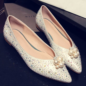 Pointed Toe Rhinestone Pearls Accessory Flat Shoes [4920605636]