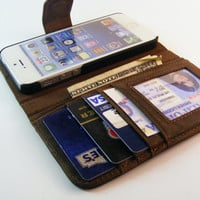 Leather iPhone Wallet Case fits iPhone 5/5s or iPhone 5c, Leather iPhone Wallet