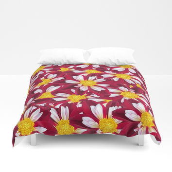 Burgundy Orange Selago Flora Duvet Cover by Deluxephotos