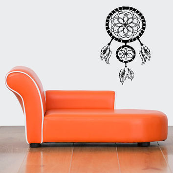 Wall Decor Vinyl Sticker Room Decal Art Tattoo Dreamcatcher Native American Indian Luck Charm Feathers Symbol 1173