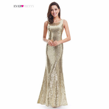 Gold Long Evening Dress Ever Pretty Back Cowl Neck EP07110GD Shine Sequin Sparkle Elegant Women 2017 Evening Party Gown