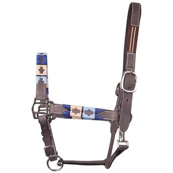HV Polo Gaucho Leather Headcollar - Dark Brown/Blue - Redpost Equestrian