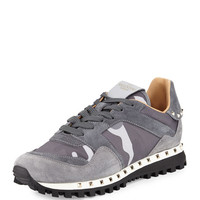 Valentino Camouflage Rockrunner Sneaker, Past Gray