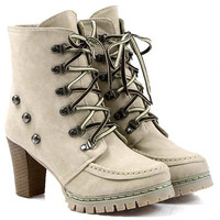 Lace Up Rivets Design Chunky Heel Boots