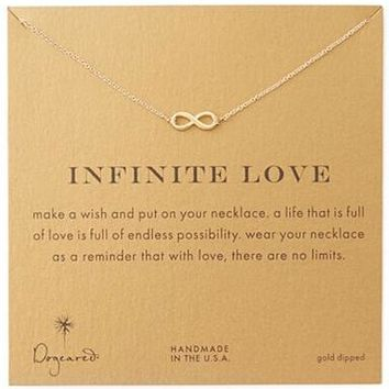 Hot sale Necklace Gold Short Forever Infinite Love necklace Good Luck pendant for women girls golden eight necklace gift