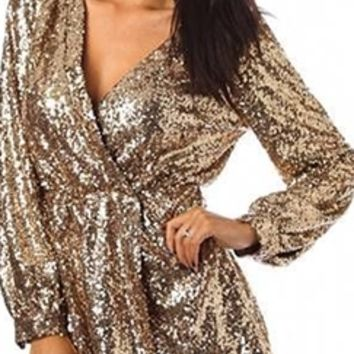 Gold Sequin Wrap Deep V Neck Long Sleeve from Indie XO | Best of