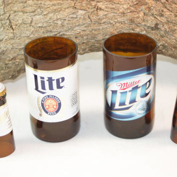 Unique Glassware Upcycled fromMiller Lite Beer Bottles, Shot Glass, Drinking Glass, Miller Lite Gift Set