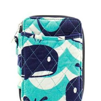 Quilted Wristlet Wallet Whale Print