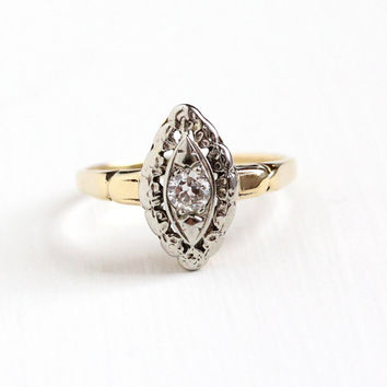 Vintage 14k Yellow & White Gold Solitaire 1/5 Carat Diamond Ring - Art Deco 1930s Size 6 1/4 Engagement Bridal Navette Marquise Fine Jewelry