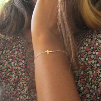 Mixed Metals Sideways Cross Bracelet, Tiny tiny tiny