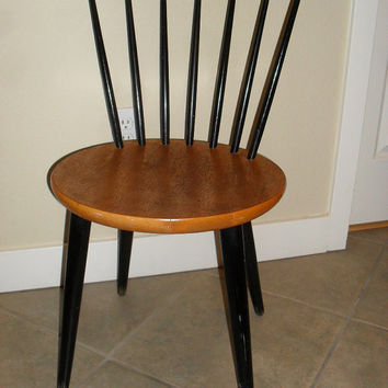 Mid Century Danish Modern Teak Spindle Back Chair Mid Century c 1950's