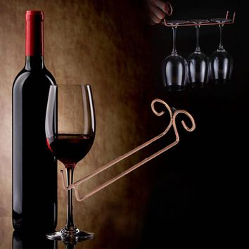New Bronze Stainless Steel Side Stand Wine Glass Hanger Rack Cup Glass Holder Shelf
