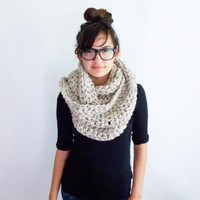 Womens Infinity Scarf in Oatmeal Khaki Hand Crocheted Oversized Knits by WithLoveFromLucille