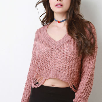 Distress Knit V-Neck Crop Sweater in Burgundy